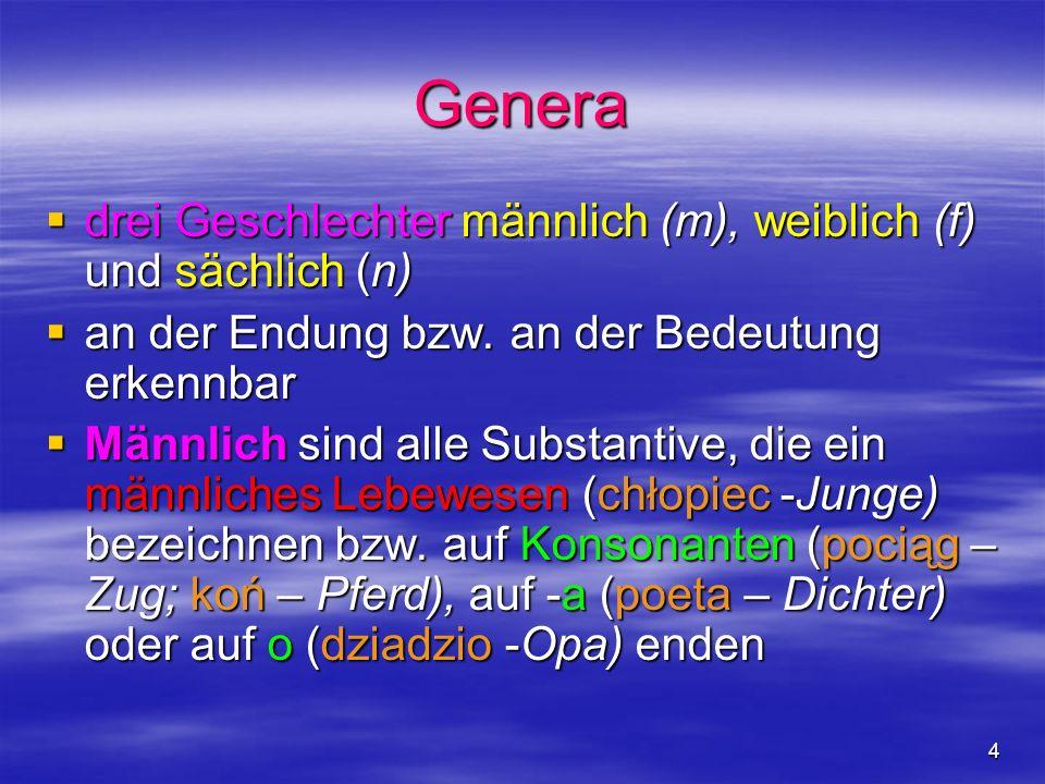 4 Genera drei Geschlechter männlich (m), weiblich (f) und sächlich (n) drei Geschlechter männlich (m), weiblich (f) und sächlich (n) an der Endung bzw