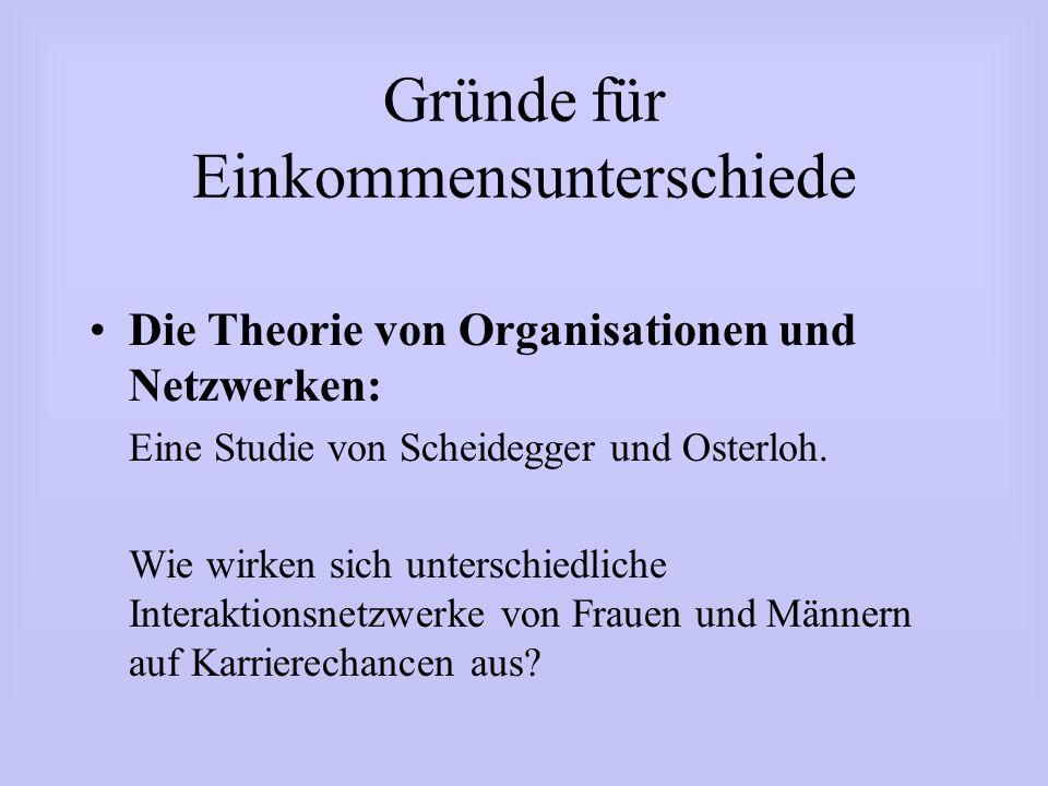 Gründe für Einkommensunterschiede Die Theorie von Organisationen und Netzwerken: Eine Studie von Scheidegger und Osterloh. Wie wirken sich unterschied