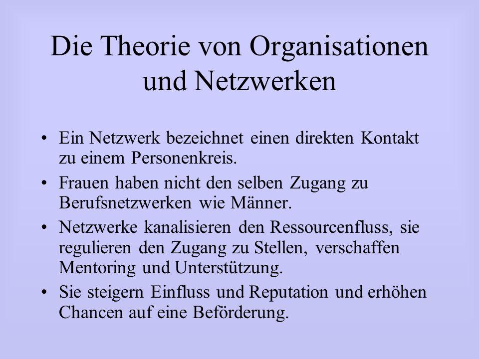 Die Theorie von Organisationen und Netzwerken Ein Netzwerk bezeichnet einen direkten Kontakt zu einem Personenkreis. Frauen haben nicht den selben Zug
