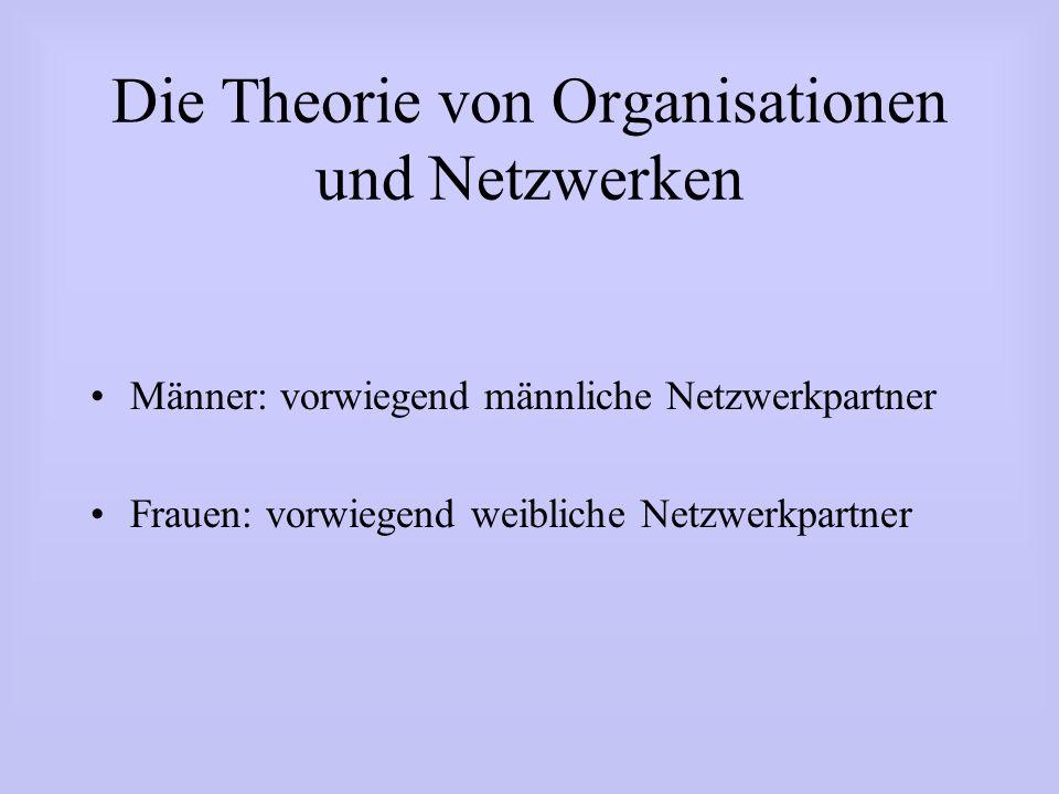 Die Theorie von Organisationen und Netzwerken Männer: vorwiegend männliche Netzwerkpartner Frauen: vorwiegend weibliche Netzwerkpartner