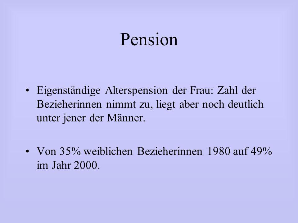 Pension Eigenständige Alterspension der Frau: Zahl der Bezieherinnen nimmt zu, liegt aber noch deutlich unter jener der Männer. Von 35% weiblichen Bez