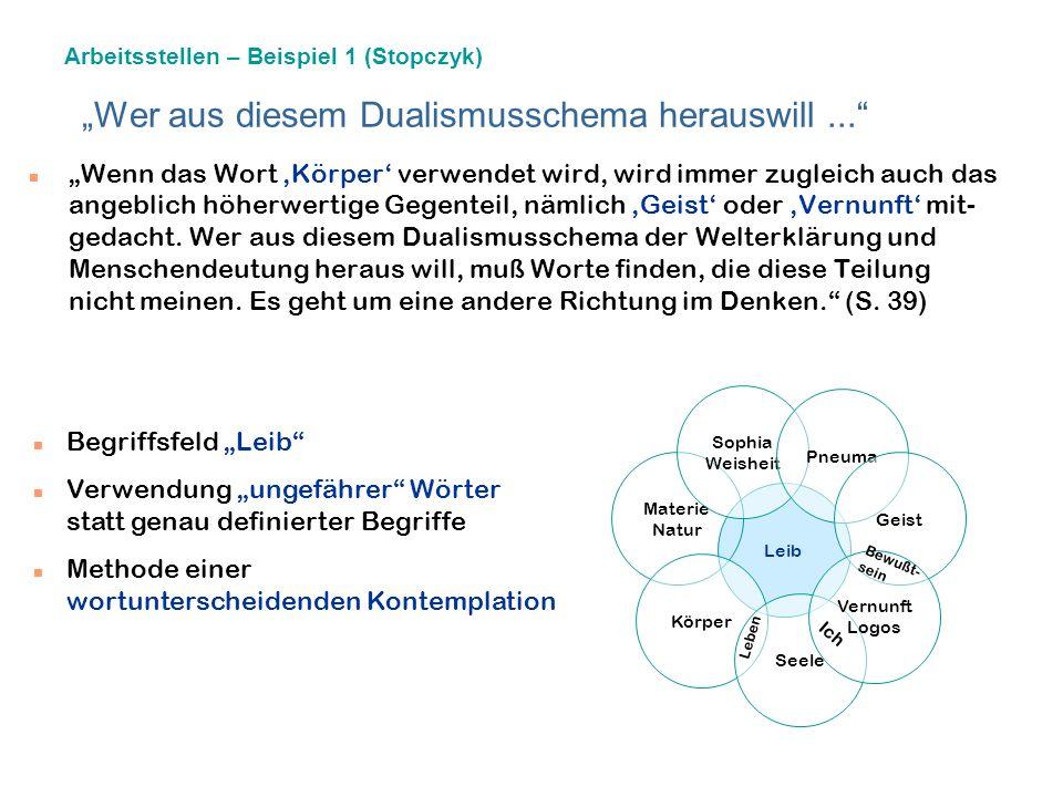 Eine leibphilosophische Perspektive - Spüren und bildbewußtes Erkennen (nach Annegret Stopczyk) Sophias Leib. Entfesselung der Weisheit. Ein philosoph