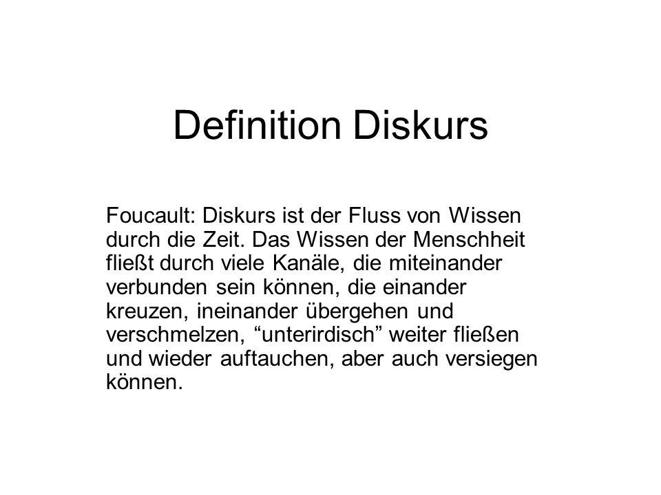 Definition Diskurs Foucault: Diskurs ist der Fluss von Wissen durch die Zeit.