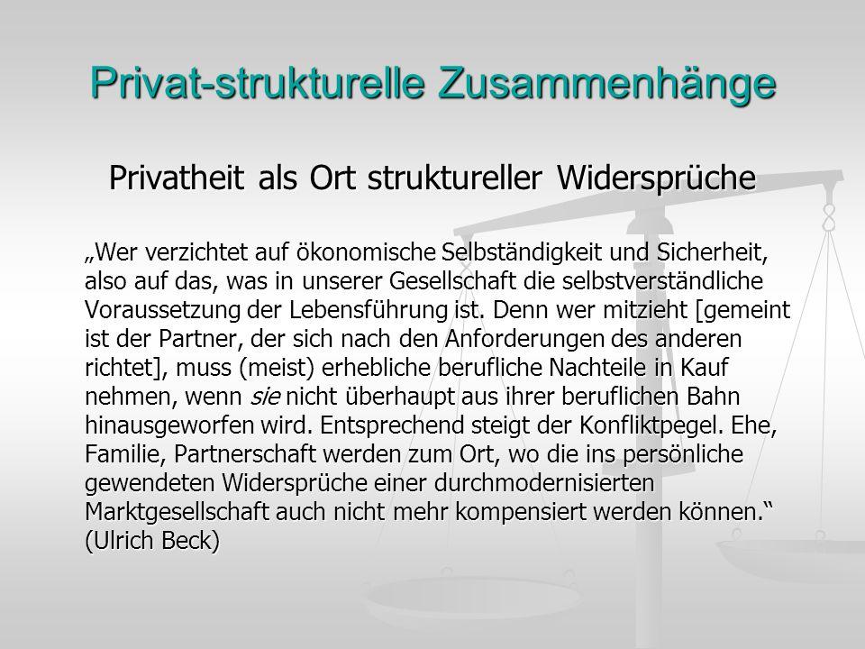 Privat-strukturelle Zusammenhänge Privatheit als Ort struktureller Widersprüche Wer verzichtet auf ökonomische Selbständigkeit und Sicherheit, also auf das, was in unserer Gesellschaft die selbstverständliche Voraussetzung der Lebensführung ist.