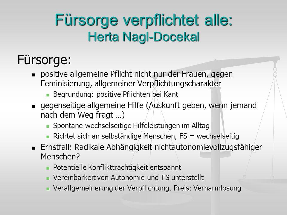 Fürsorge verpflichtet alle: Herta Nagl-Docekal Fürsorge: positive allgemeine Pflicht nicht nur der Frauen, gegen Feminisierung, allgemeiner Verpflicht