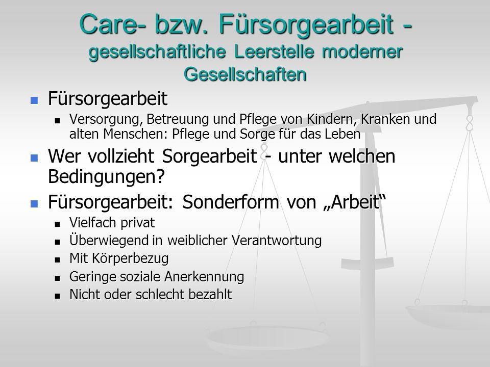 Care- bzw. Fürsorgearbeit - gesellschaftliche Leerstelle moderner Gesellschaften Fürsorgearbeit Fürsorgearbeit Versorgung, Betreuung und Pflege von Ki