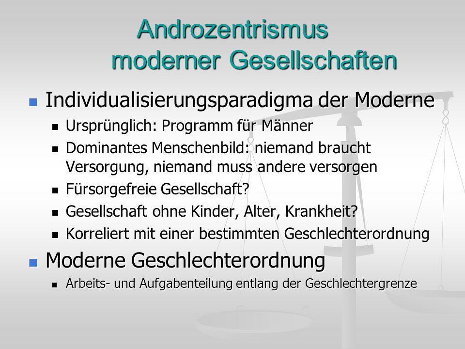 Androzentrismus moderner Gesellschaften Individualisierungsparadigma der Moderne Individualisierungsparadigma der Moderne Ursprünglich: Programm für M
