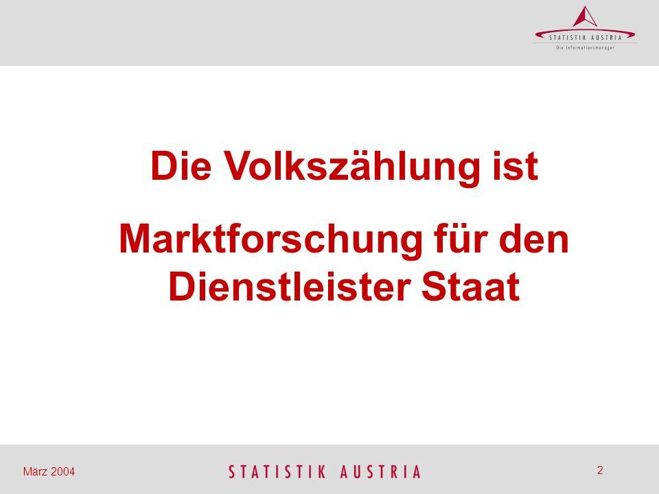 3 März 2004 Bevölkerungsentwicklung 1951-2001 Österreich, VZ 1951 – VZ 2001 1951-2001: + 1.099.021 oder + 15,8 % Veränderung + 237.140 oder + 3,0 % 1991-2001: