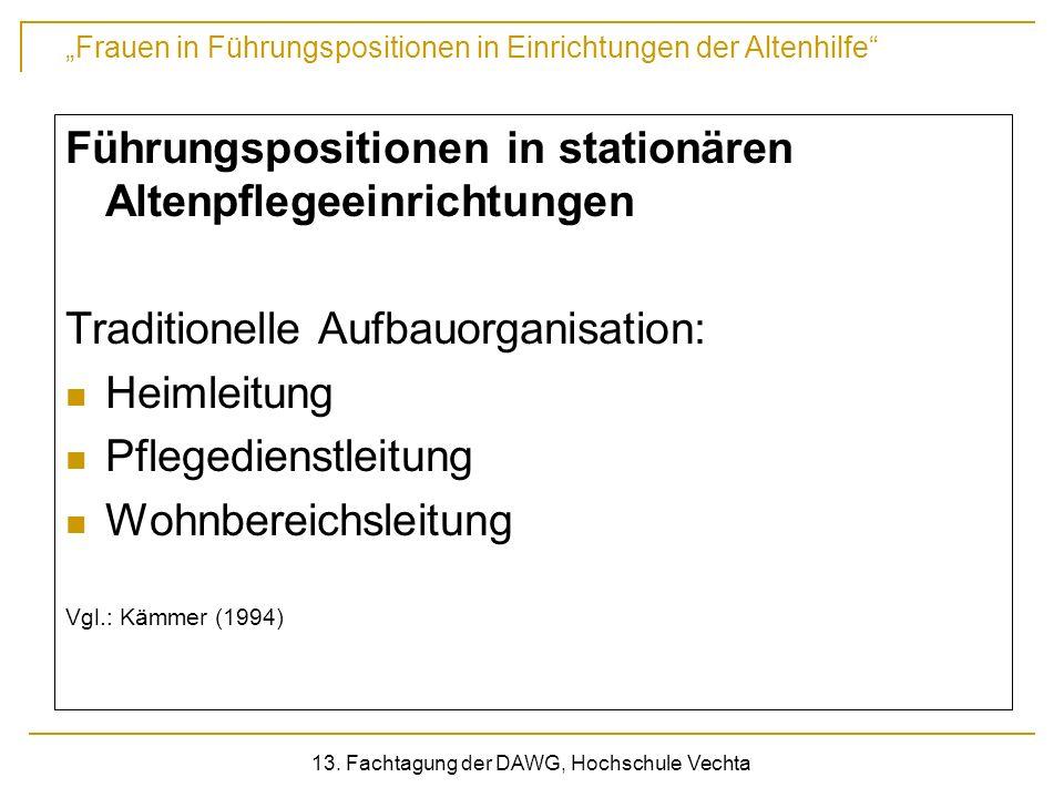 Frauen in Führungspositionen in Einrichtungen der Altenhilfe 13. Fachtagung der DAWG, Hochschule Vechta Führungspositionen in stationären Altenpflegee