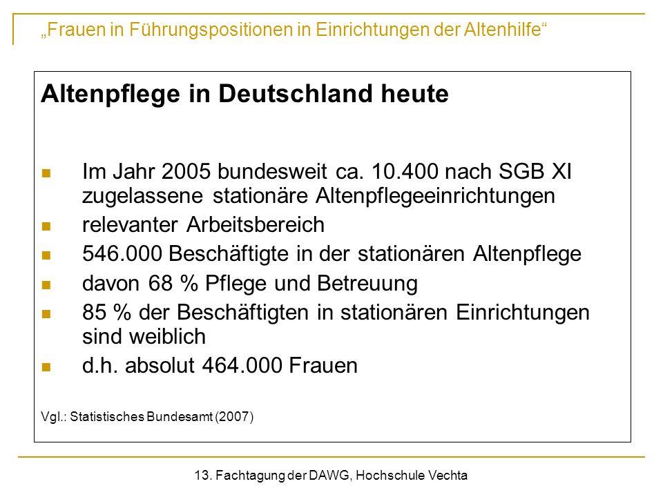 Frauen in Führungspositionen in Einrichtungen der Altenhilfe 13. Fachtagung der DAWG, Hochschule Vechta Altenpflege in Deutschland heute Im Jahr 2005