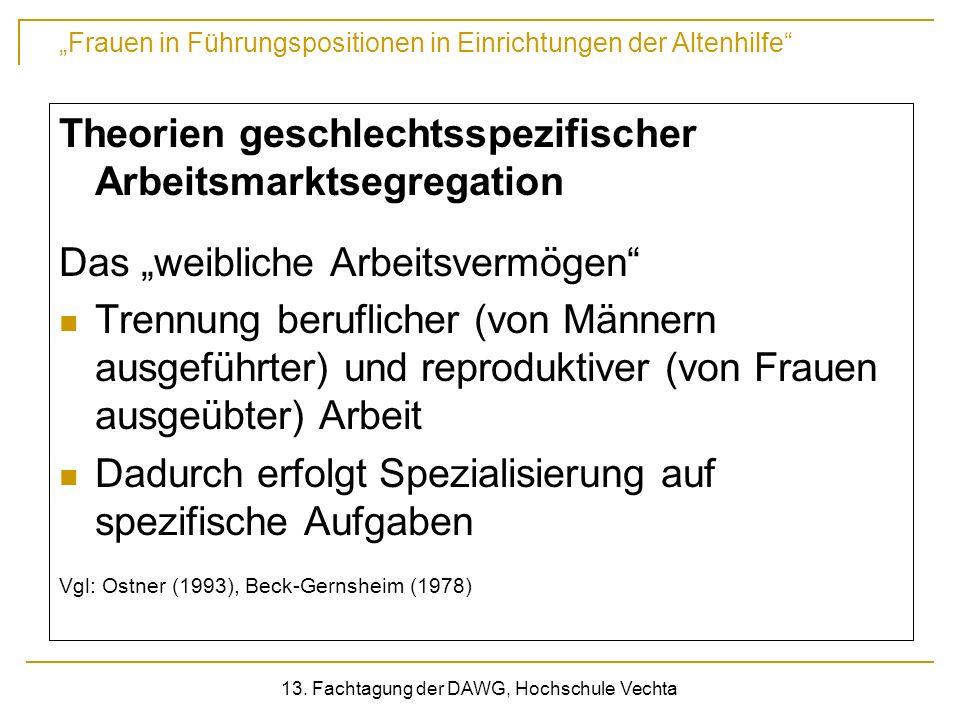 Frauen in Führungspositionen in Einrichtungen der Altenhilfe 13. Fachtagung der DAWG, Hochschule Vechta Theorien geschlechtsspezifischer Arbeitsmarkts