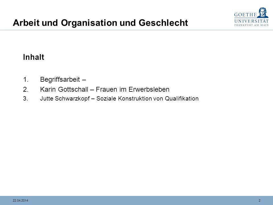 1322.04.2014 Arbeit und Organisation und Geschlecht Gendering in Organisationen Joan Acker 1992 (Re-)Produktion von geschlechtsspezifischen Bereichen - Segmentation und Segregation.