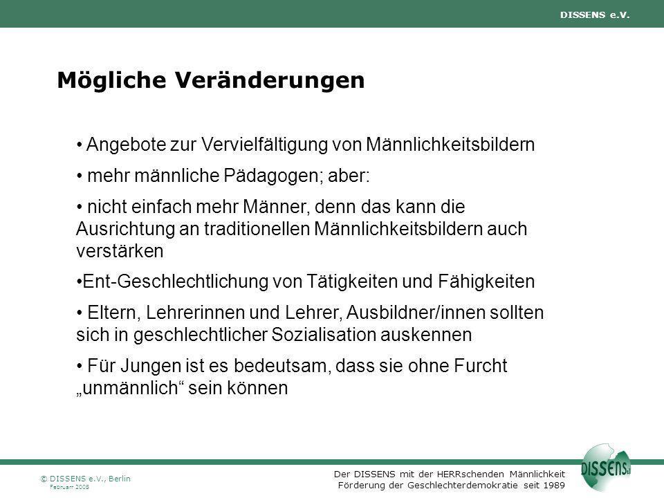 Der DISSENS mit der HERRschenden Männlichkeit Förderung der Geschlechterdemokratie seit 1989 DISSENS e.V. Februarr 2008 © DISSENS e.V., Berlin Möglich