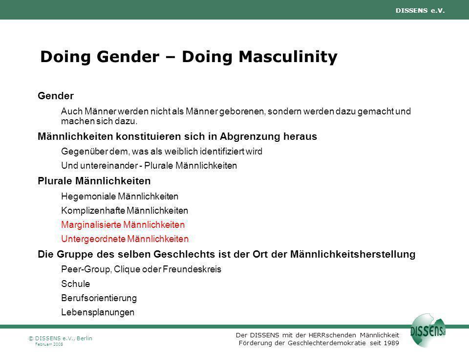Der DISSENS mit der HERRschenden Männlichkeit Förderung der Geschlechterdemokratie seit 1989 DISSENS e.V. Februarr 2008 © DISSENS e.V., Berlin Doing G