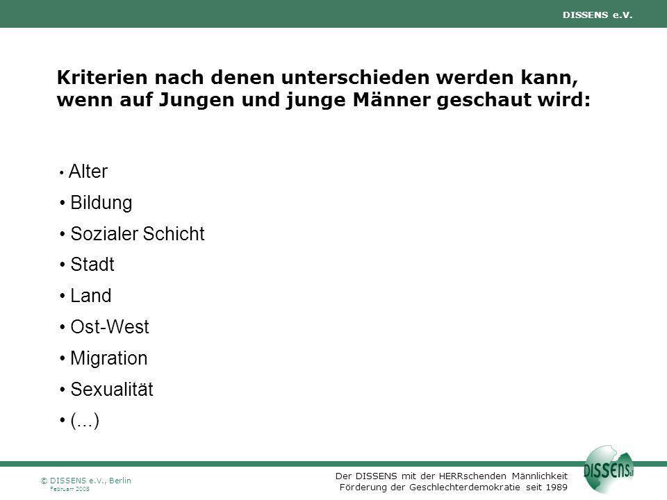 Der DISSENS mit der HERRschenden Männlichkeit Förderung der Geschlechterdemokratie seit 1989 DISSENS e.V. Februarr 2008 © DISSENS e.V., Berlin Kriteri