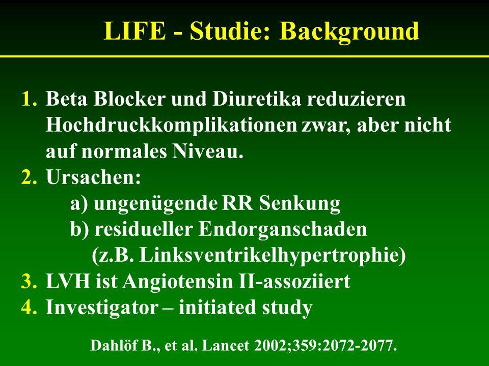 LIFE - Studie: Background 1.Beta Blocker und Diuretika reduzieren Hochdruckkomplikationen zwar, aber nicht auf normales Niveau. 2.Ursachen: a) ungenüg