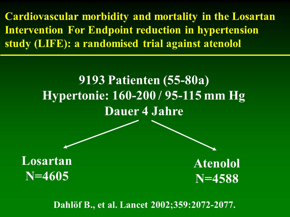 Cardiovascular morbidity and mortality in the Losartan Intervention For Endpoint reduction in hypertension study (LIFE): a randomised trial against at