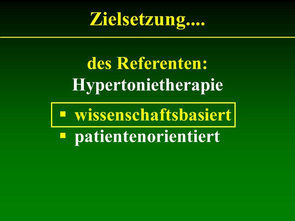 des Referenten: Hypertonietherapie Zielsetzung.... wissenschaftsbasiert patientenorientiert