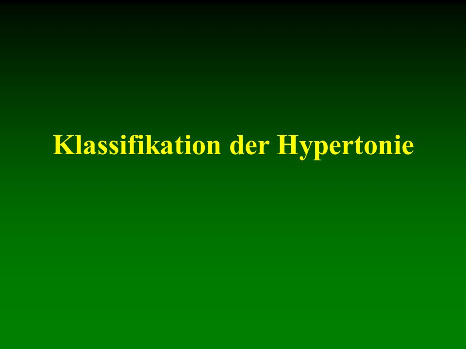 Klassifikation der Hypertonie