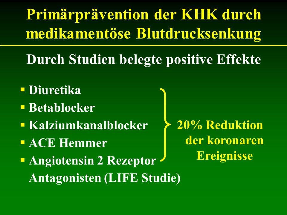 Primärprävention der KHK durch medikamentöse Blutdrucksenkung Diuretika Betablocker Kalziumkanalblocker ACE Hemmer Angiotensin 2 Rezeptor Antagonisten