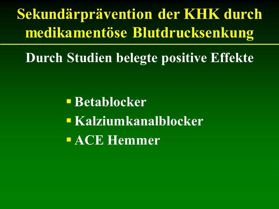 Sekundärprävention der KHK durch medikamentöse Blutdrucksenkung Betablocker Kalziumkanalblocker ACE Hemmer Durch Studien belegte positive Effekte