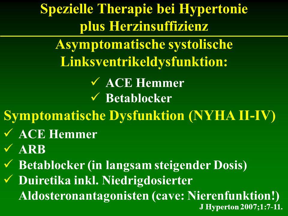 J Hyperton 2007;1:7-11. Asymptomatische systolische Linksventrikeldysfunktion: ACE Hemmer Betablocker Spezielle Therapie bei Hypertonie plus Herzinsuf