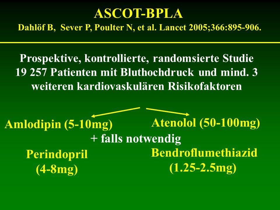 ASCOT-BPLA Dahlöf B, Sever P, Poulter N, et al. Lancet 2005;366:895-906. Prospektive, kontrollierte, randomsierte Studie 19 257 Patienten mit Bluthoch