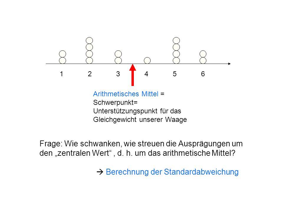123456123456 Arithmetisches Mittel = Schwerpunkt= Unterstützungspunkt für das Gleichgewicht unserer Waage Frage: Wie schwanken, wie streuen die Ausprä