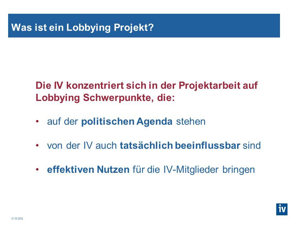 21.03.2002 Die IV Lobbying Projekte Unternehmensspezifische Themen – z.B.