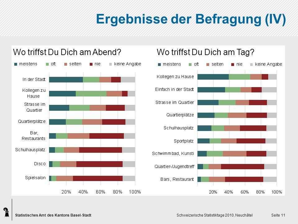 Statistisches Amt des Kantons Basel-Stadt Schweizerische Statistiktage 2010, Neuchâtel Seite 11 Wo triffst Du Dich am Abend.