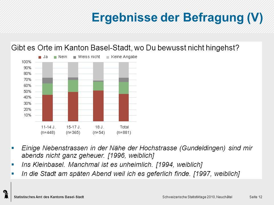 Statistisches Amt des Kantons Basel-Stadt Schweizerische Statistiktage 2010, Neuchâtel Seite 12 Ergebnisse der Befragung (V) Gibt es Orte im Kanton Basel-Stadt, wo Du bewusst nicht hingehst.