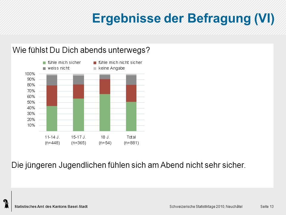 Statistisches Amt des Kantons Basel-Stadt Schweizerische Statistiktage 2010, Neuchâtel Seite 13 Ergebnisse der Befragung (VI) Wie fühlst Du Dich abends unterwegs.