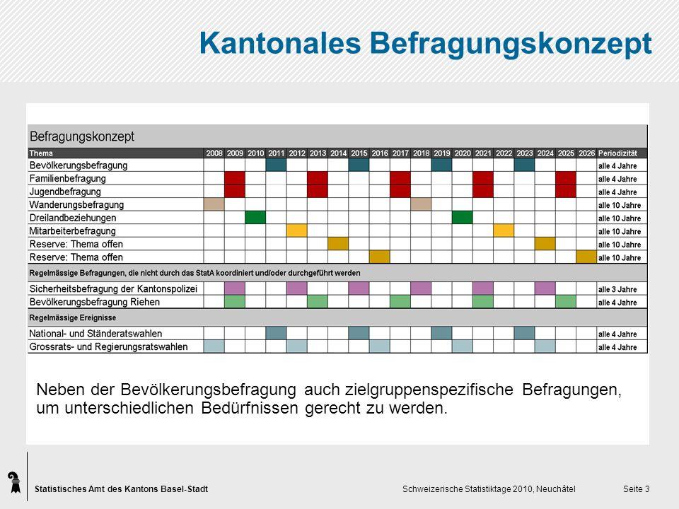 Statistisches Amt des Kantons Basel-Stadt Schweizerische Statistiktage 2010, Neuchâtel Seite 3 Kantonales Befragungskonzept Neben der Bevölkerungsbefragung auch zielgruppenspezifische Befragungen, um unterschiedlichen Bedürfnissen gerecht zu werden.