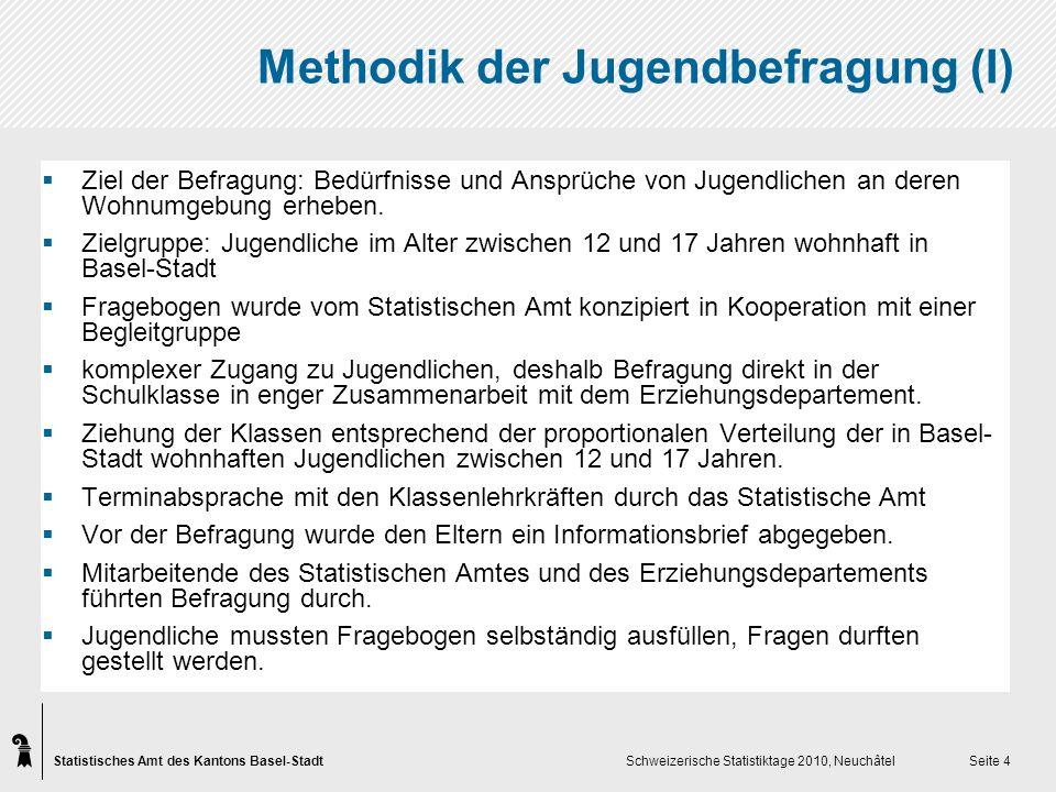 Statistisches Amt des Kantons Basel-Stadt Schweizerische Statistiktage 2010, Neuchâtel Seite 4 Methodik der Jugendbefragung (I) Ziel der Befragung: Bedürfnisse und Ansprüche von Jugendlichen an deren Wohnumgebung erheben.