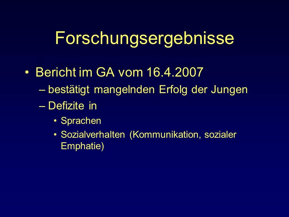 Forschungsergebnisse Bericht im GA vom 16.4.2007 –bestätigt mangelnden Erfolg der Jungen –Defizite in Sprachen Sozialverhalten (Kommunikation, soziale