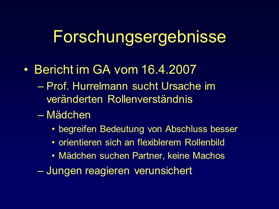 Forschungsergebnisse Bericht im GA vom 16.4.2007 –Prof. Hurrelmann sucht Ursache im veränderten Rollenverständnis –Mädchen begreifen Bedeutung von Abs