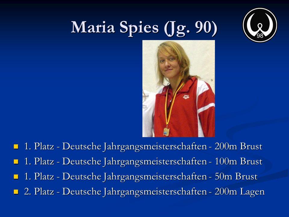 Maria Spies (Jg. 90) 1. Platz - Deutsche Jahrgangsmeisterschaften - 200m Brust 1. Platz - Deutsche Jahrgangsmeisterschaften - 200m Brust 1. Platz - De