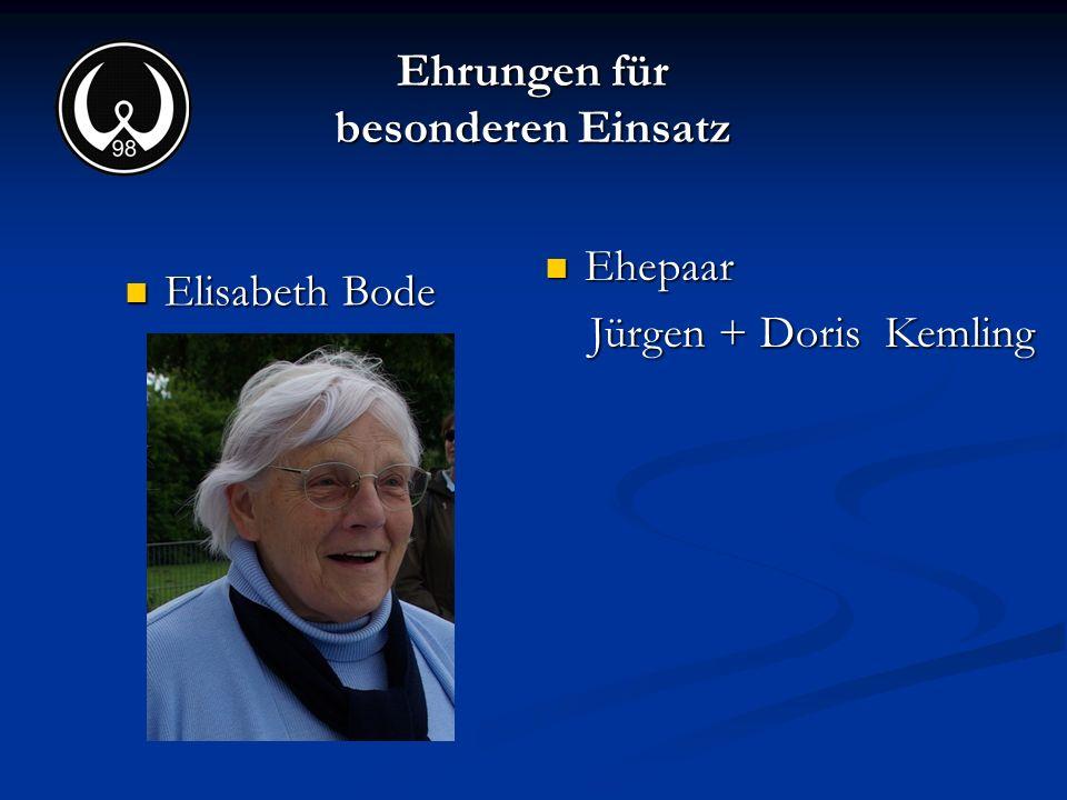 Ehrungen für besonderen Einsatz Elisabeth Bode Ehepaar Jürgen + Doris Kemling