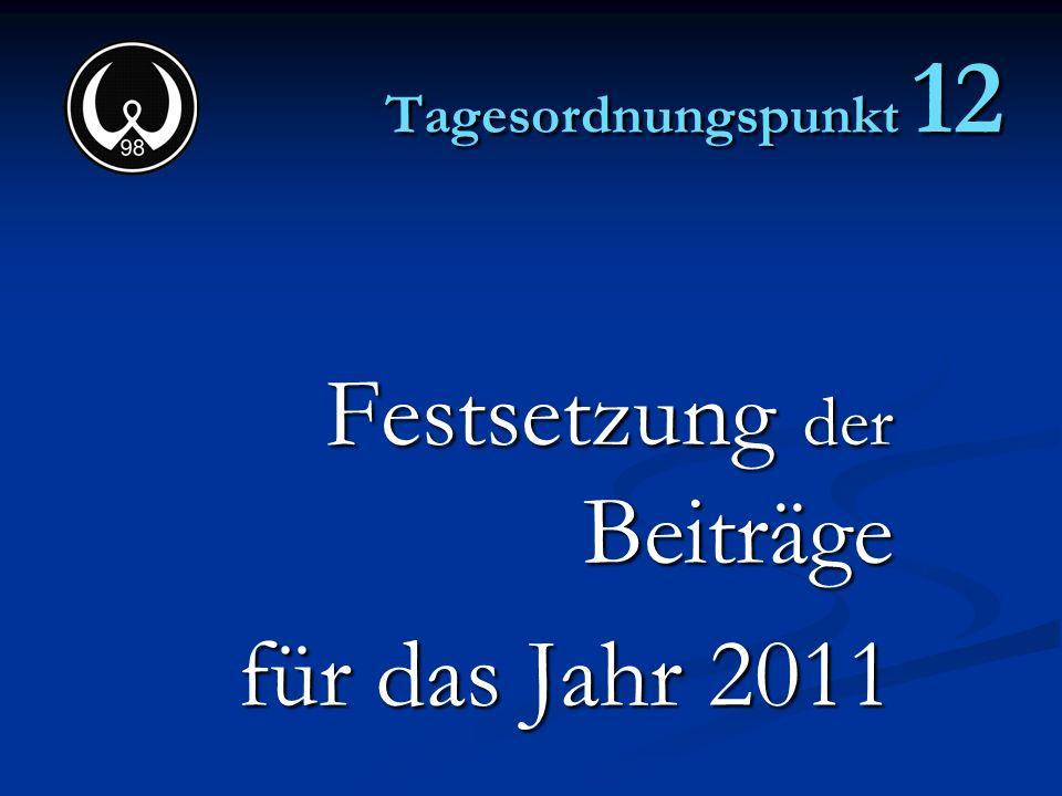 Tagesordnungspunkt 12 Festsetzung der Beiträge für das Jahr 2011