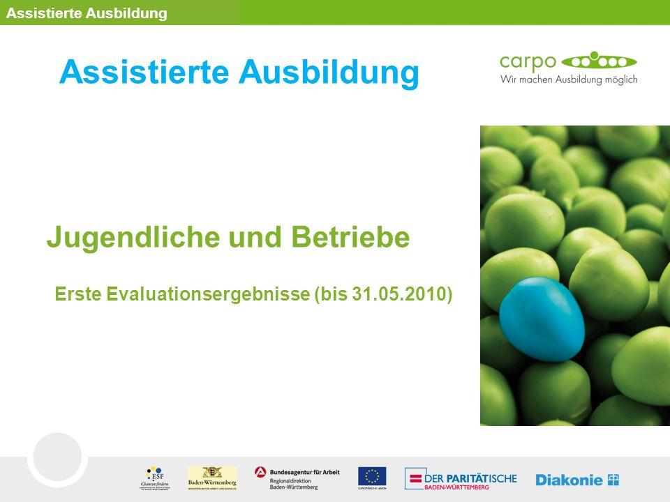 Jugendliche und Betriebe Erste Evaluationsergebnisse (bis 31.05.2010) Assistierte Ausbildung