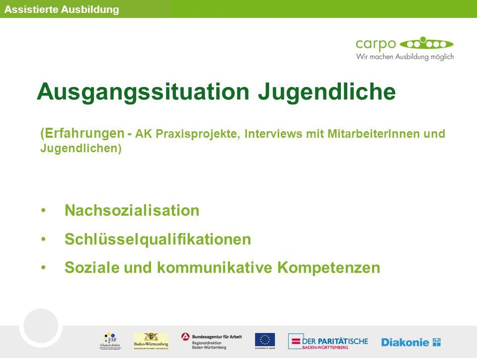 Nachsozialisation Schlüsselqualifikationen Soziale und kommunikative Kompetenzen Assistierte Ausbildung Ausgangssituation Jugendliche (Erfahrungen - A