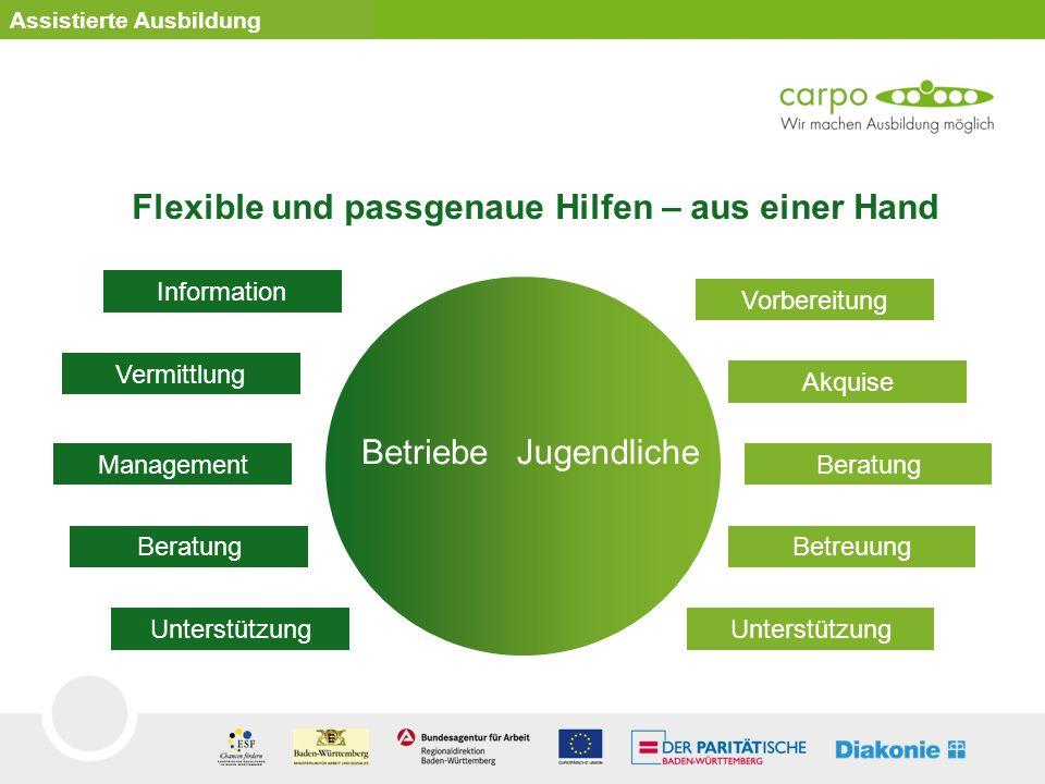 Assistierte Ausbildung Flexible und passgenaue Hilfen – aus einer Hand Vorbereitung Akquise Beratung Betreuung Unterstützung Information Vermittlung M
