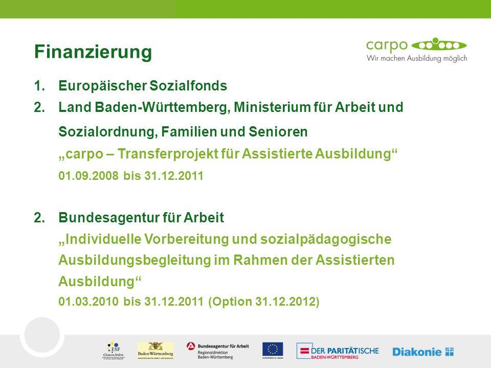 Finanzierung 1.Europäischer Sozialfonds 2.Land Baden-Württemberg, Ministerium für Arbeit und Sozialordnung, Familien und Senioren carpo – Transferproj