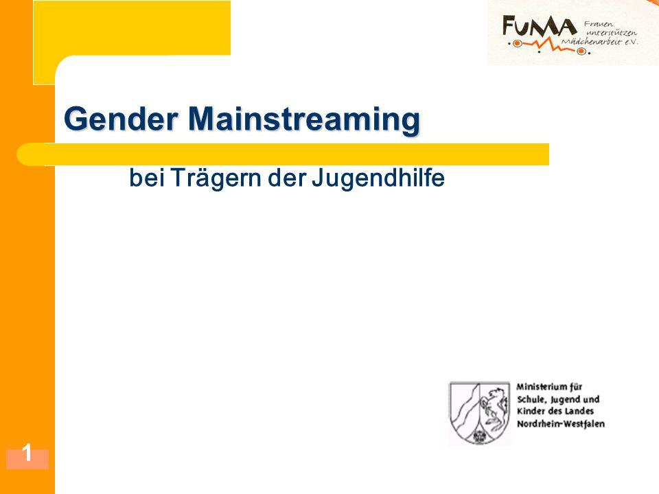 1 Gender Mainstreaming Gender Mainstreaming bei Trägern der Jugendhilfe