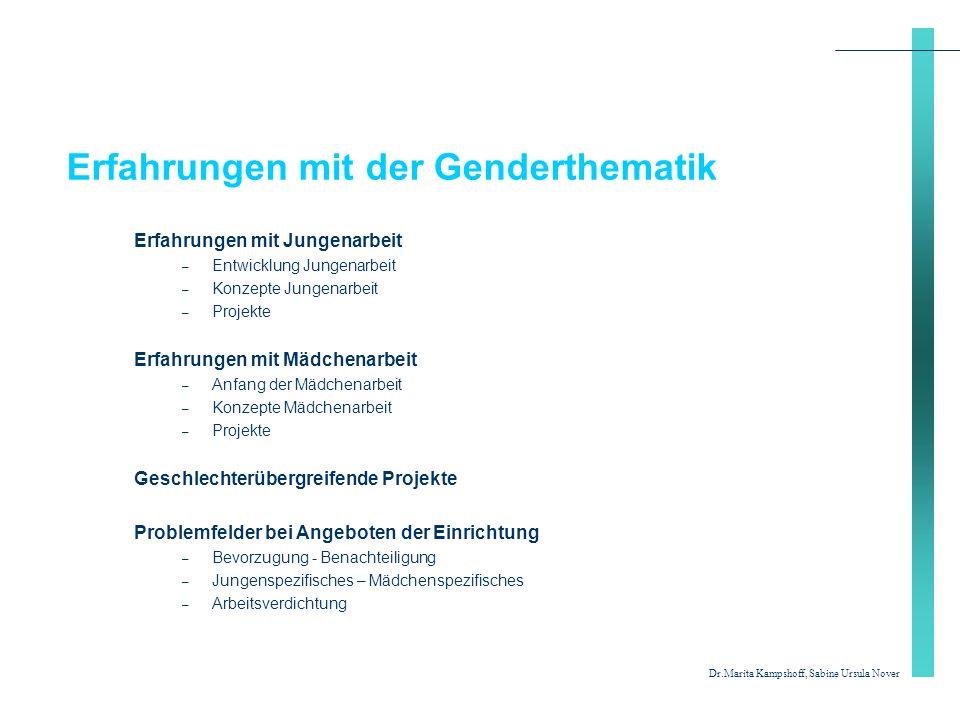 Erfahrungen mit der Genderthematik Erfahrungen mit Jungenarbeit – Entwicklung Jungenarbeit – Konzepte Jungenarbeit – Projekte Erfahrungen mit Mädchena