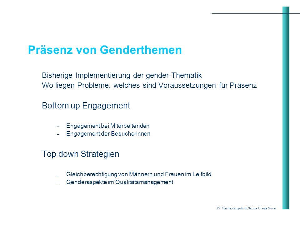 Präsenz von Genderthemen Bisherige Implementierung der gender-Thematik Wo liegen Probleme, welches sind Voraussetzungen für Präsenz Bottom up Engageme