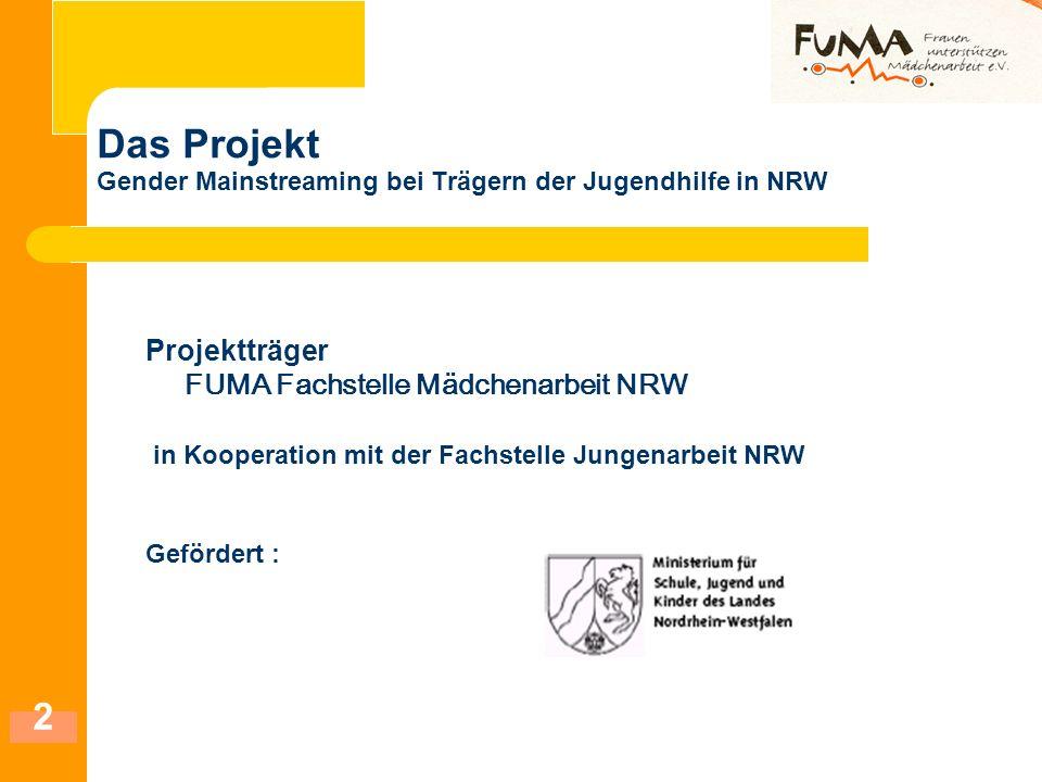 2 Das Projekt Gender Mainstreaming bei Trägern der Jugendhilfe in NRW Projektträger FUMA Fachstelle Mädchenarbeit NRW in Kooperation mit der Fachstell
