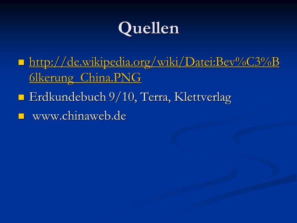 Quellen http://de.wikipedia.org/wiki/Datei:Bev%C3%B 6lkerung_China.PNG http://de.wikipedia.org/wiki/Datei:Bev%C3%B 6lkerung_China.PNG http://de.wikipedia.org/wiki/Datei:Bev%C3%B 6lkerung_China.PNG http://de.wikipedia.org/wiki/Datei:Bev%C3%B 6lkerung_China.PNG Erdkundebuch 9/10, Terra, Klettverlag Erdkundebuch 9/10, Terra, Klettverlag www.chinaweb.de www.chinaweb.de