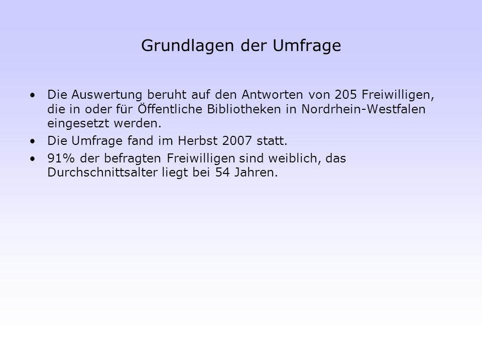 Grundlagen der Umfrage Die Auswertung beruht auf den Antworten von 205 Freiwilligen, die in oder für Öffentliche Bibliotheken in Nordrhein-Westfalen e