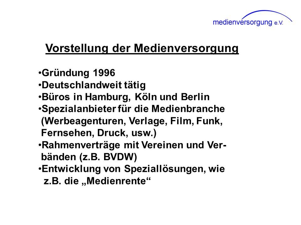 Vorstellung der Medienversorgung Gründung 1996 Deutschlandweit tätig Büros in Hamburg, Köln und Berlin Spezialanbieter für die Medienbranche (Werbeage